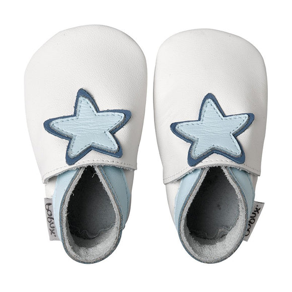 Bobux  White Baby Star (blue)