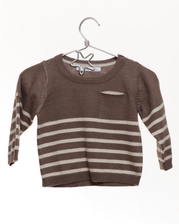 Mon Marcel Dark Taupe Round neck stripe jumper