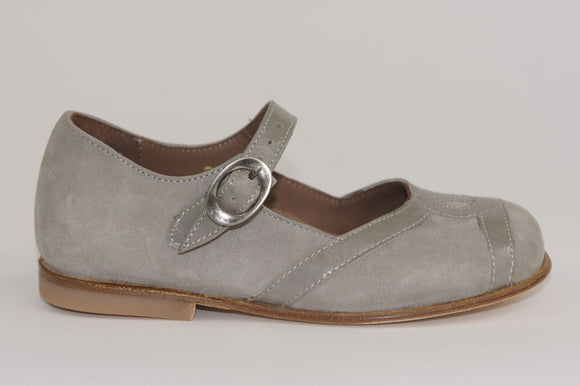 Pepe Pale Grey Suede/Patent Mary Jane