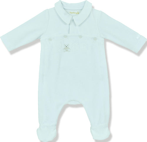 Berlingot Blue Velour 'Bebe' Playsuit