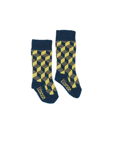 Kidscase Knee High socks Dark Blue/ yellow