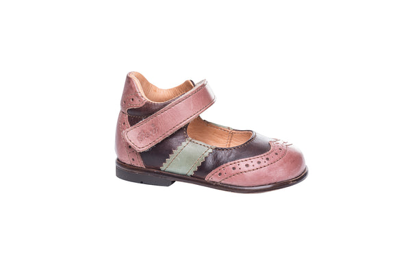 Ocra Pink/Brown Two Tone Ankle Mary Jane
