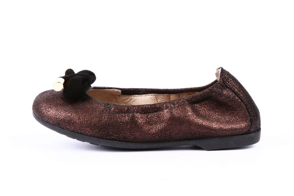 Unisa Buffy Merlot Metal / Kid Suede Ballerina