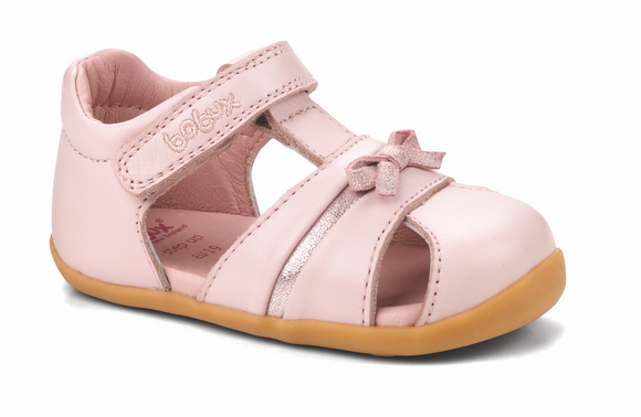 Bobux Step Up peek-a-bow sandal Light Pink