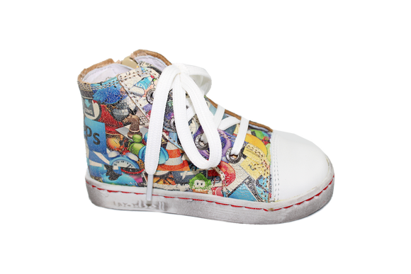 Bo-bell Fluffy Graffitti Boy hi-top trainer