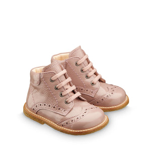 Angulus Patent Rose Powder Lace-up Boot