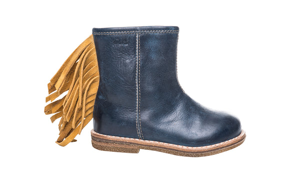 Ocra Blue/Yellow Fringed Boot