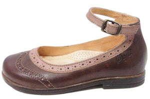 Ocra Brown/Pink Two Tone Ankle Ballerina