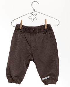 Mon Marcel Dark Taupe Trousers ribbed bottom