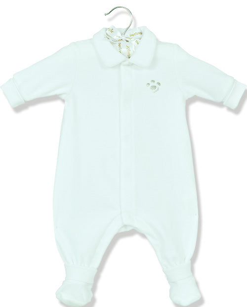 Berlingot White Velour footprint playsuit