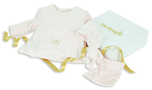 Berlingot Pink Velour bear emblem gift set
