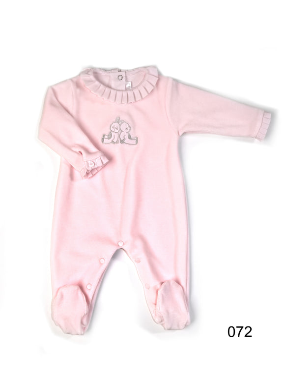 Patachou Pink Velour Footed Romper