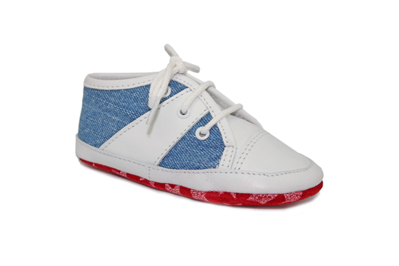 Bo-bell Len White/Jean soft sole trainer