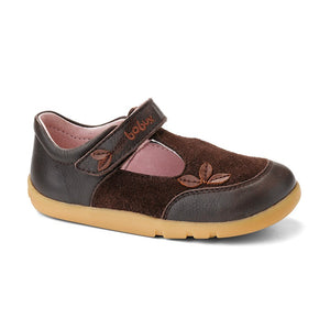 Bobux Iwalk chocolate whirl wind t-bar shoe