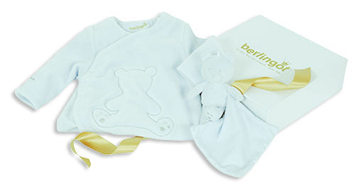 Berlingot Blue Velour bear emblem gift set