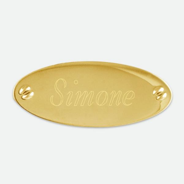 "Brass Oval Plate 1  7/8"" x 3/4"" - Things Engraved"