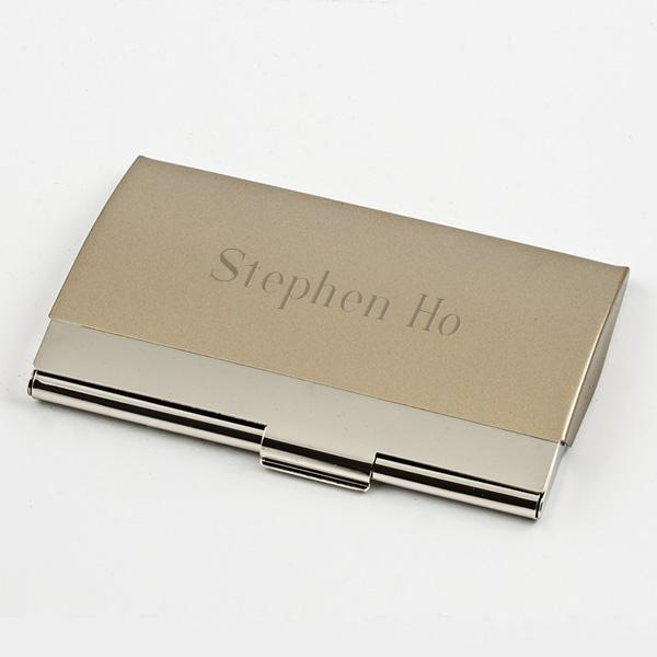 Card Case, Silver With Satin & Bright Finish - Things Engraved