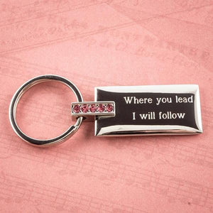 Keychain, Silver with Pink Crystals - Things Engraved