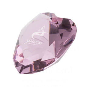 Pink Optic Crystal Heart
