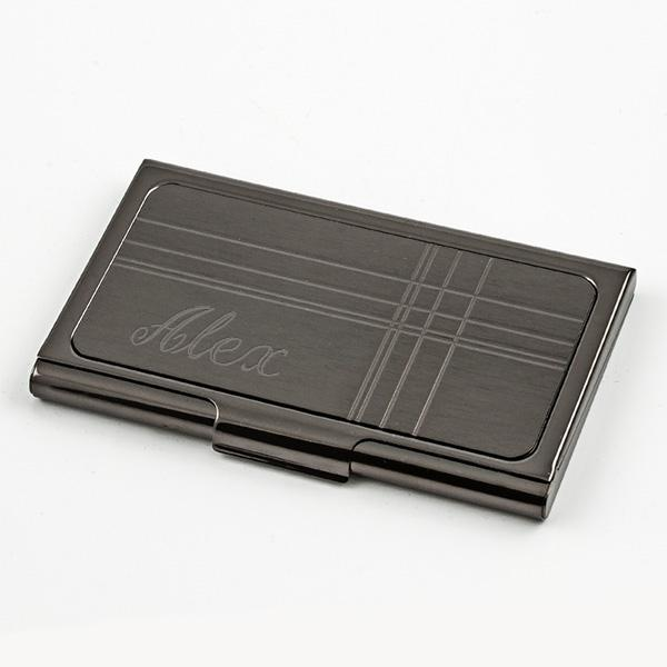 Stainless Steel Gun Metal Card Case - Things Engraved
