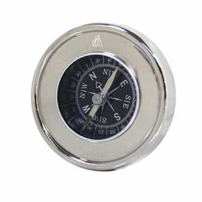 Chrome Compass in Black Presentation Box