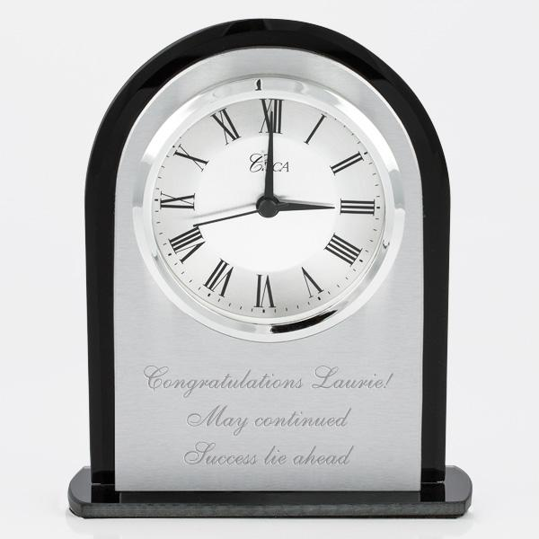 Silver and Black Desk Clock - Things Engraved