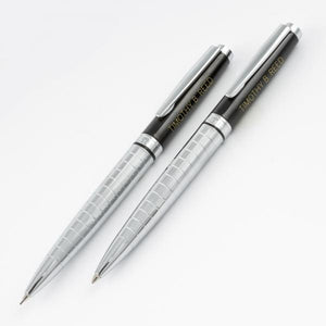 Cadence Grid Pen/Pencil Set - Black/Chrome - Things Engraved