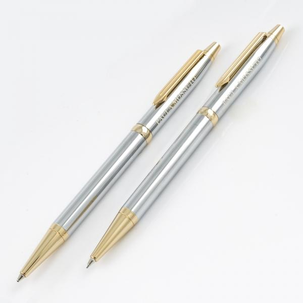 Cadence Pen & Pencil Set - Chrome/Gold