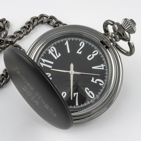 Black Matte Pocket Watch - Things Engraved