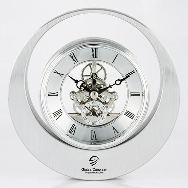 Round Silver Skeleton Clock