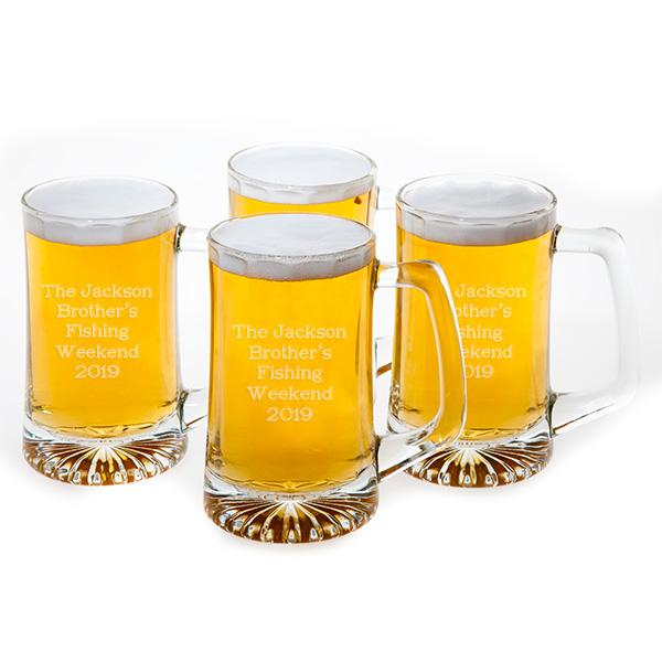 Set of 4 Glass Beer Steins - Things Engraved