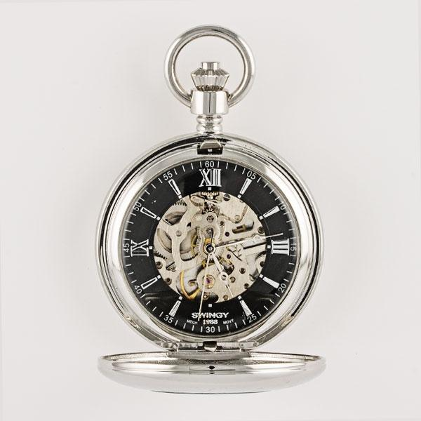 Skeleton Black Dial Mechanical Pocket Watch - Things Engraved