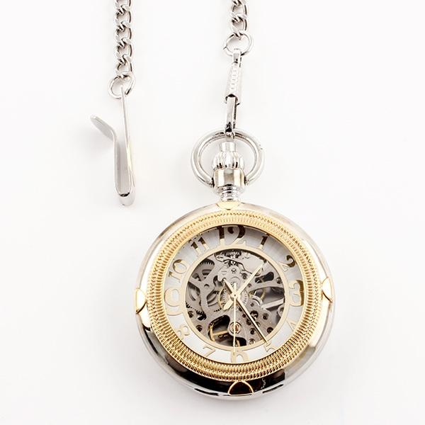 Gold/Chrome Skeleton Pocket Watch - Things Engraved