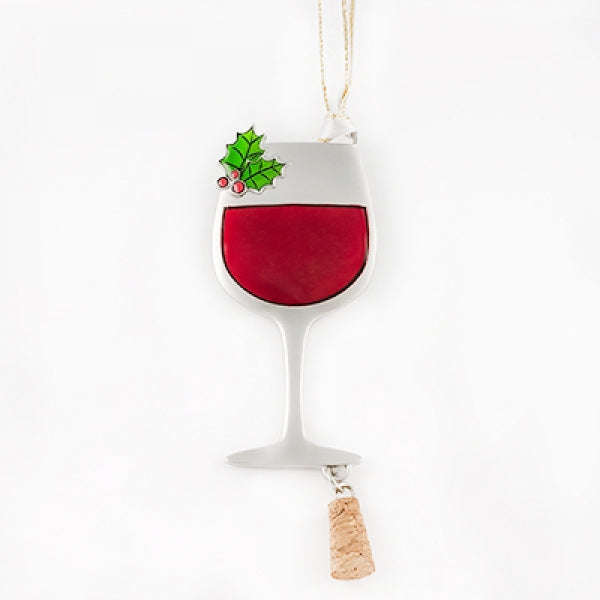 Wine Glass with Cork Ornament