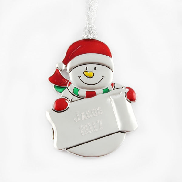 Snowman Sled Ornament