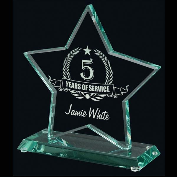 "Star Glass Award 5 1/2"" - Small - Things Engraved"