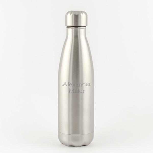Water Bottle - 17oz Stainless Steel - Silver - Things Engraved