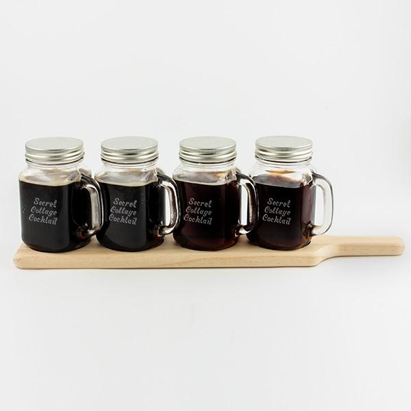 Mason Jar Bar Set on Wood Tray - Things Engraved