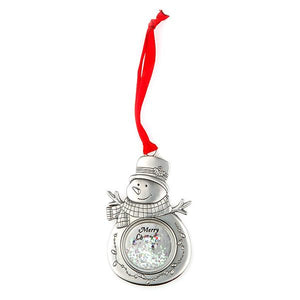 "Glitter ""Merry Christmas"" Snowman Ornament - Things Engraved"