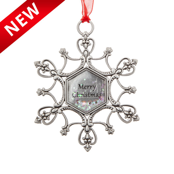 Snowflake Merry Xmas - Shake and Sparkle Ornament