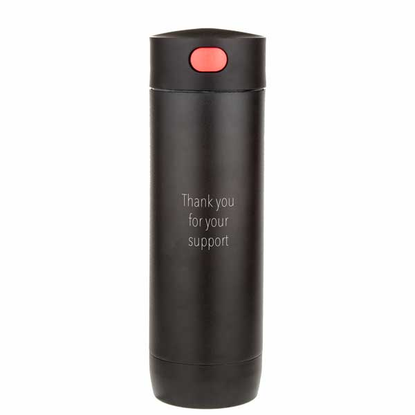 Black Powder Coated Stainless Steel Travel Mug