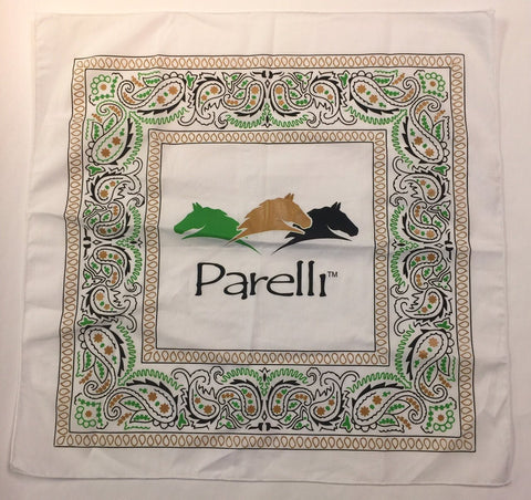 White Parelli Bandana with 3 color design
