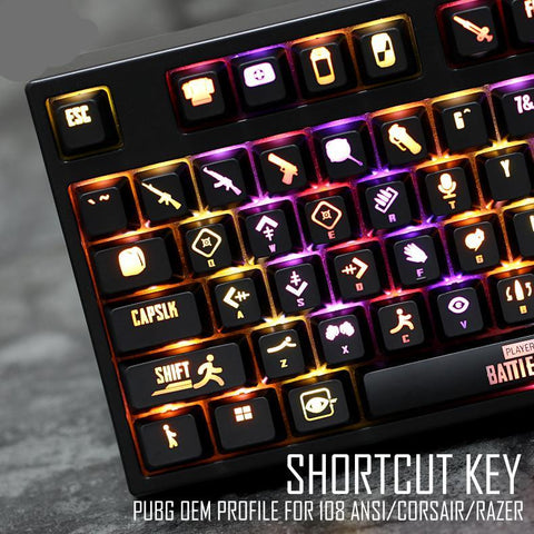 PUBG Backlit Ansi Set Keycap For Corsair k70 Razer Black widow