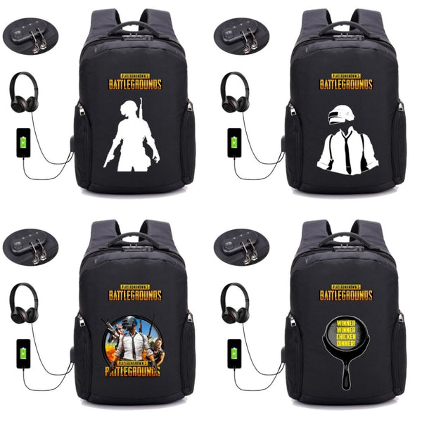 PUBG battlegrounds Backpack USB Charging