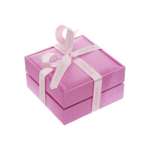 Orchira Pearl Jewellery presentation gift box wrapped in pink silk ribbed material and ribbon