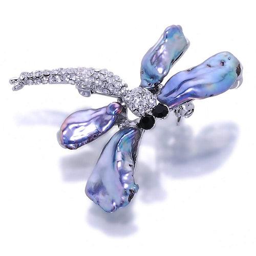 Dancing Dragonfly Black Pearl Brooch And Pendant - Orchira Pearl Jewellery