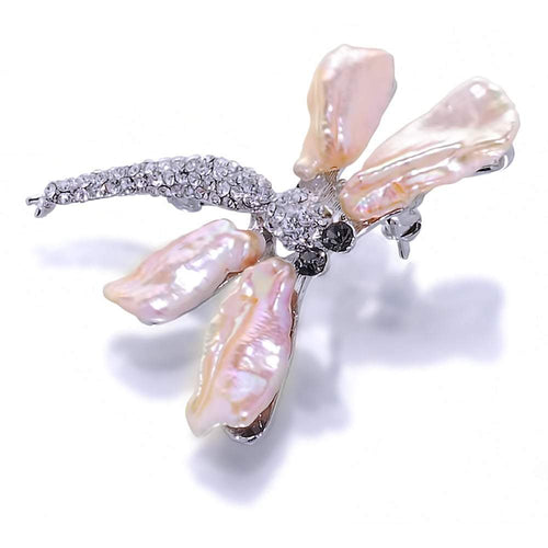 Dancing Dragonfly Peach Pearl Brooch And Pendant - Orchira Pearl Jewellery