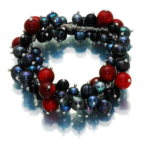 Fire In Dark Night Pearl With Coral And Onyx Bracelet - Orchira Pearl Jewellery