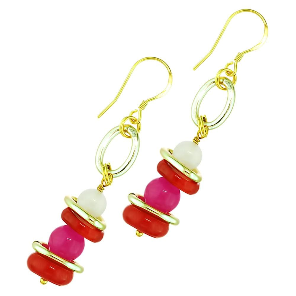 Peony Dynasty Coral And Gemstone Earrings - Orchira Pearl Jewellery