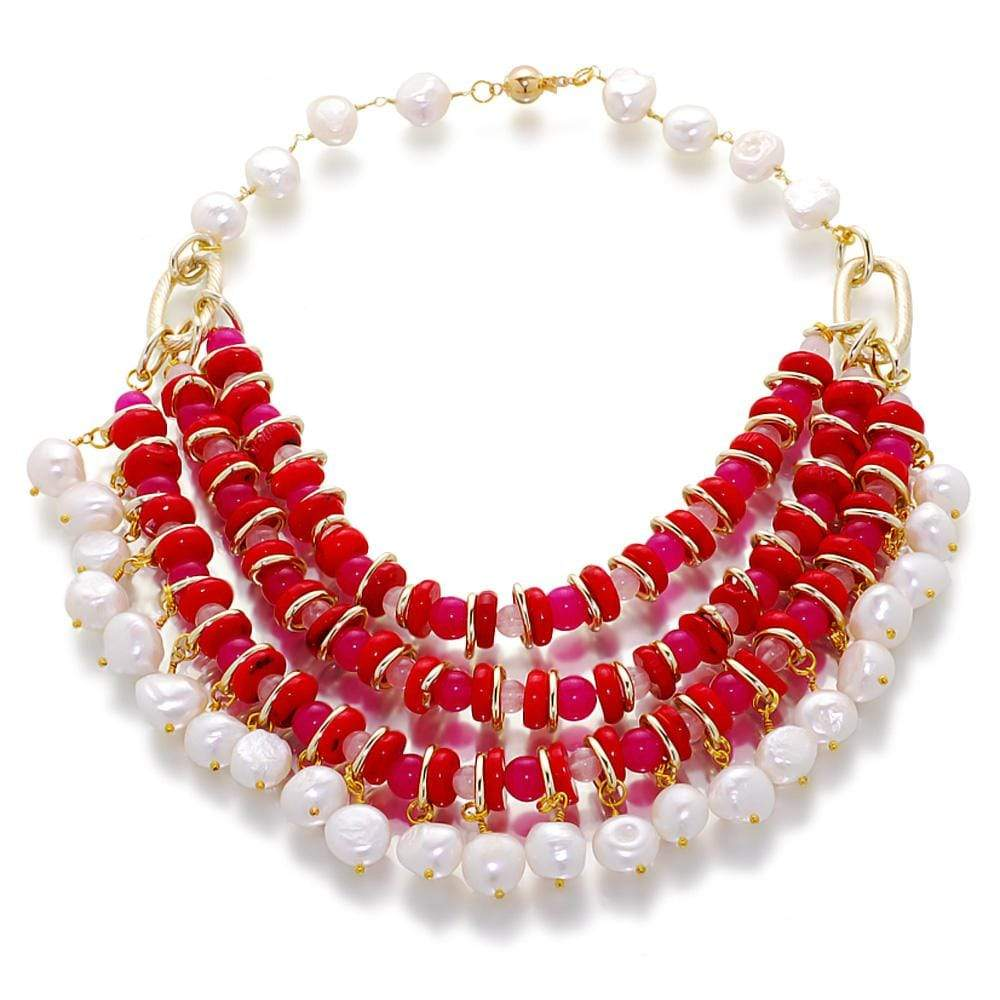 Peony Dynasty Pearl And Gemstone Necklace - Orchira Pearl Jewellery
